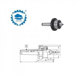 Kieł  tokarski 1-60 obrotowy z nakrętką i końcówką z węglika spiekanego DIN 228 Typ 8816